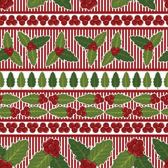 Holly Berries Seamless Pattern