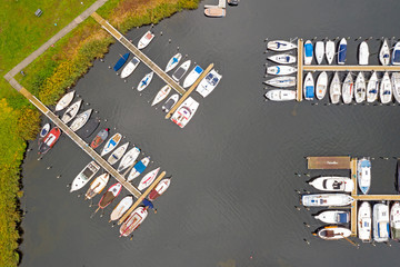 Aerial top shot from boats in the harbor