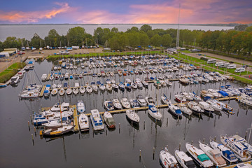 Aerial from the harbour in Almere in the Netherlands