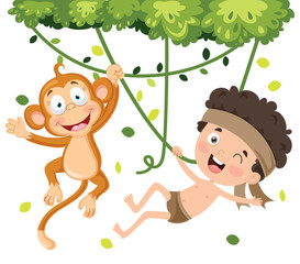 Happy Kid Swinging With Monkey In Jungle