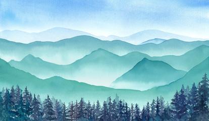雲のない青空と山々の眺め 水彩イラスト