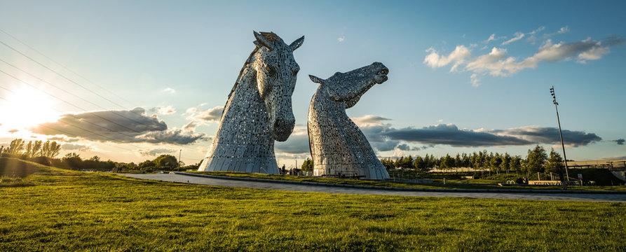FALKIRK, SCOTLAND - MAY 30: The Kelpies: Scotland's 100 ft Horse-Head Sculptures.