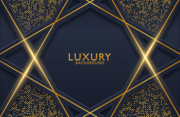 3d geometric luxury gold metal on dark background. Graphic design element for invitation, cover, background. Elegant decoration