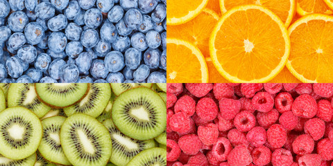 Wall Mural - Berry fruits oranges berries fruit food background collection collage set banner