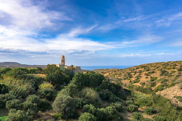 Church of Toplou Monastery in the northeastern part of Crete, Greece near the famous palm beach of Vai.