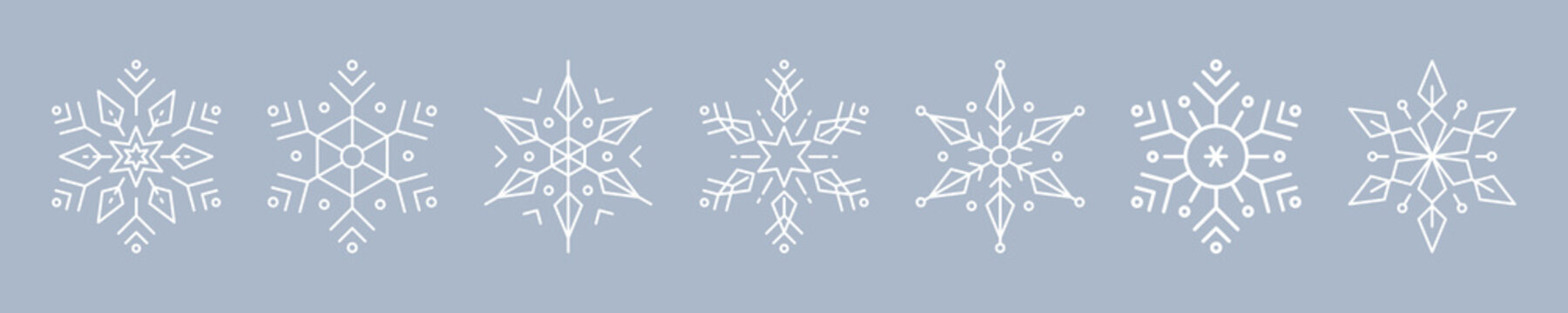 Christmas ice snowflakes elements ornaments seamless banner greeting card on blue ice background