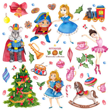 Christmas set with watercolor Nutcracker, children toys, Christmas tree, cookies, leaves, branches, berry, mouse king, hand draw element isolated on white background