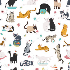 Cartoon cat characters seamless pattern. Different cat`s poses, yoga and emotions set. Flat simple style design