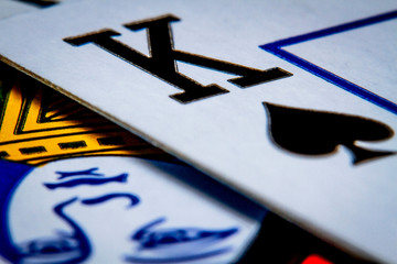 Macro shot playing cards, king of spades close-up picture