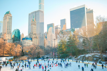 Ice skaters having fun in New York Central Park in winter