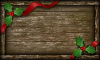 Cadre de bois avec feuilles de houx et ruban.