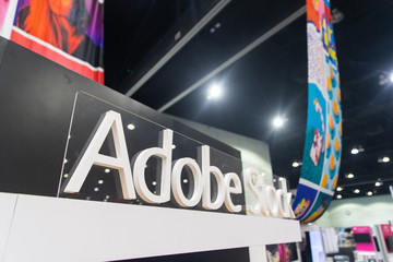 November 4, 2019: Adobe Stock sign on display during Adobe MAX at the Los Angeles Convention Center