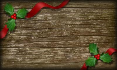 Planche de bois avec feuilles de houx et ruban.