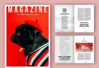 Black and White Magazine Layout with Bold Text Elements