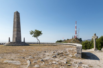 Stone monolith and communication tower on Mount Santa Tecla