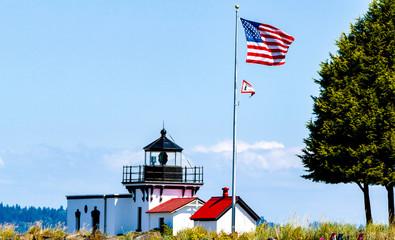 light house with flag