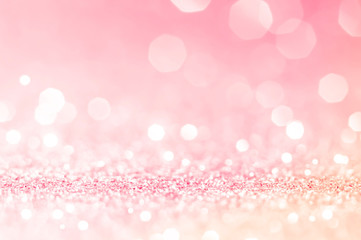 Pink gold, pink bokeh,circle abstract light background,Pink Gold shining lights, sparkling glittering Valentines day,women day or event lights romantic backdrop.Blurred abstract holiday background. Fototapete