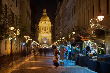 Holiday decorations of Zrinyi street in Budapest. Hungary