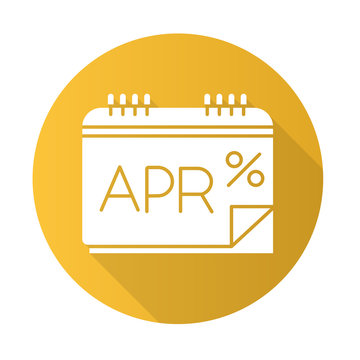 Annual percentage rate yellow flat design long shadow glyph icon. APR calculations. Financial report. Paying for credit, loan. Calendar to track income and expenses. Vector silhouette illustration
