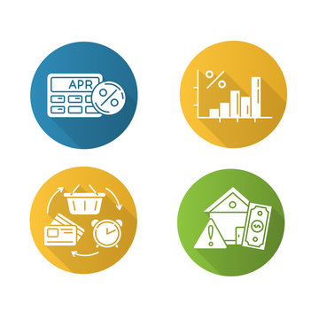 Loan flat design long shadow glyph icons set. Annual percentage rate calculator. Income increase, budget growth infographic. Revolving credit. House mortrage risk. Vector silhouette illustration