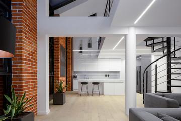 Spacious apartment with brick walls