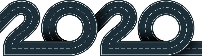 numbers of 2020 year in shape road Fotomurales