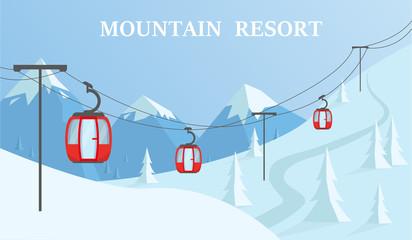 Winter mountain resort vector illustration.