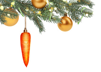 Christmas tree branch decorated with carrot and golden ornaments