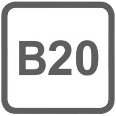 diesel B20 fuel sign - fuel designations in the European Union - biodiesel 20%- fuel alternative - codes - sticker - standardised