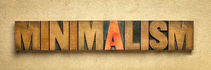 minimalism word abstract in wood type