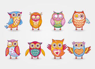 Poster Owls cartoon Artistic cute owl illustration set