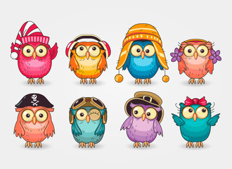 Artistic cute owl illustration set