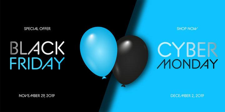 Black Friday Sale. Black Friday Super Sale. Black background. Balloons. Super Sale. Vector illustration.