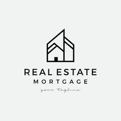 Real estate apartment house logo vector icon illustration