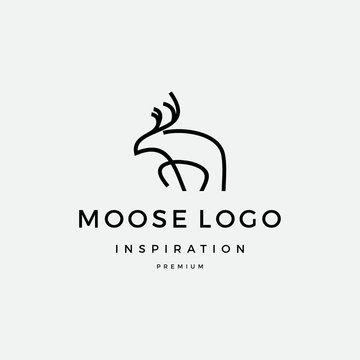 Moose line art logo inspiration vector icon illustration