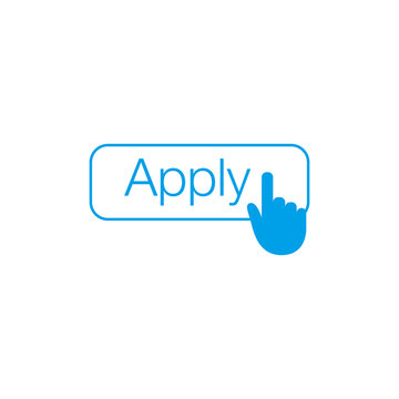 Apply button with hand cursor for web form submission, campaign participation banners, blogs, content updates and news feed. Stock Vector illustration isolated on white background.