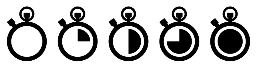 Stopwatch icons set. Vector illustration
