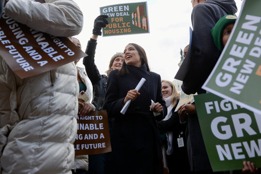 Rep. Ocasio-Cortez announces introduction of public housing legislation as part of the Green New Deal in Washington