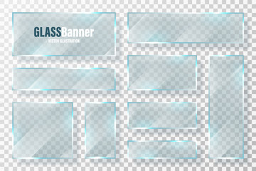 Glass frames collection. Realistic transparent glass banner with glare. Vector design element.