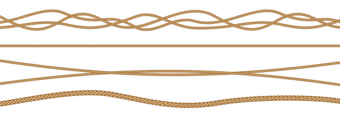 Twisted and straight rope set. Vector design elements.