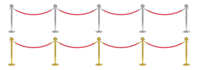 Realistic velvet rope barrier with golden and silver poles. Isolated fences vector illustration.