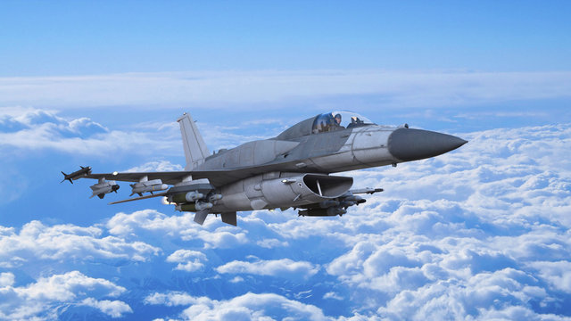 Fighter jet plane in flight, military aircraft, army airplane flying in cloudy sky, bottom view, 3D rendering