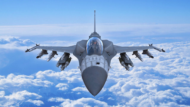 Fighter jet plane in flight, military aircraft, army airplane flying in sky with clouds, front top view, 3D rendering