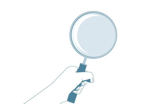 虫眼鏡・拡大鏡と手のイラスト 単色 虫眼鏡を持つ手 Illustration of a hand holding a magnifying glass