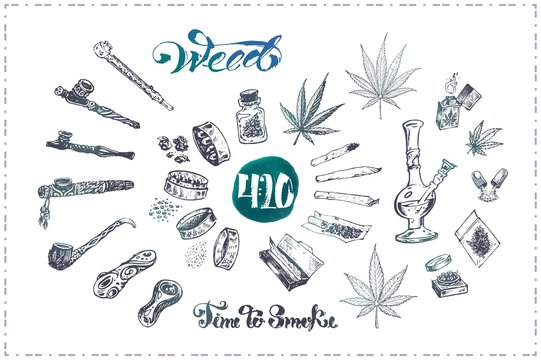Pipes, bong and joint for medical marijuana smoking, cannabis leaves grinder. Calligraphy - time to smoke weed isolated on black chalk background. Vector illustrations set