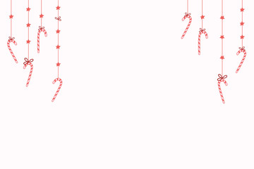 Christmas background with candy canes and stars. Vector illustration for new year design.