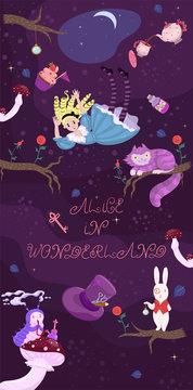 Alice's banner in wonderland. Alice Falls, Characters. Vector set.