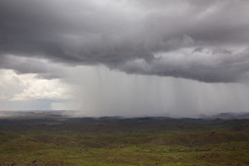 Aerial view from a helicopter of Wet Season thunderstorms near Warmu in the remote Kimberley region of Western Australia.