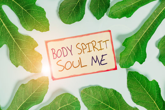 Text sign showing Body Spirit Soul Me. Business photo showcasing Personal Balance Therapy Conciousness state of mind Leaves surrounding notepaper above an empty soft pastel table as background