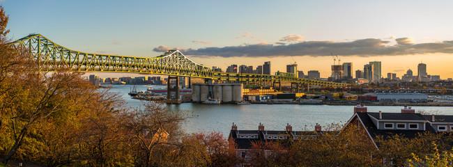 Boston Skyline over Maurice J. Tobin Memorial Bridge over the Mystic River, Boston Massachusetts
